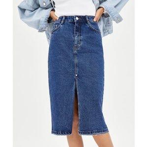 NWT Zara High Waist Midi Denim skirt sz. S